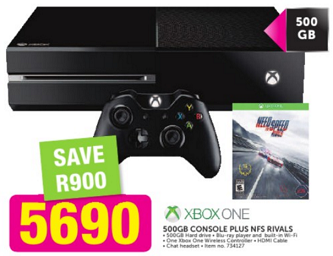 Xbox One 500GB Console + Need for Speed Rvials